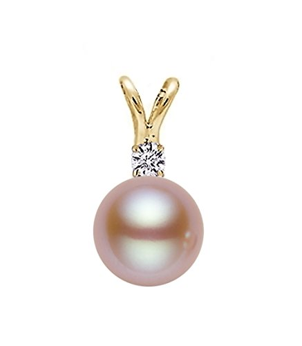 Gold Diamond Pink Pearl Pendant (14k Yellow Gold AAA Quality Pink Freshwater Cultured Pearl Diamond Pendant (7.5-8mm))