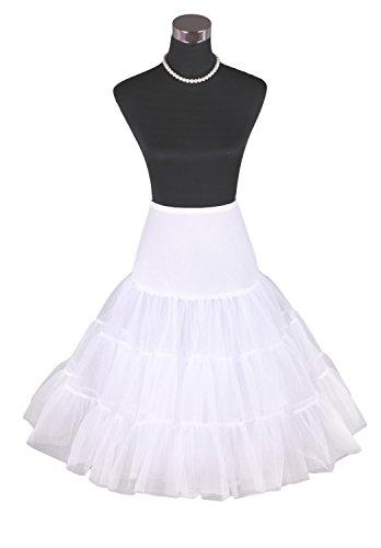 "Luyan White 50s Vintage Rockabilly Net Petticoat Skirt Tutu 26"" Length White (14)"