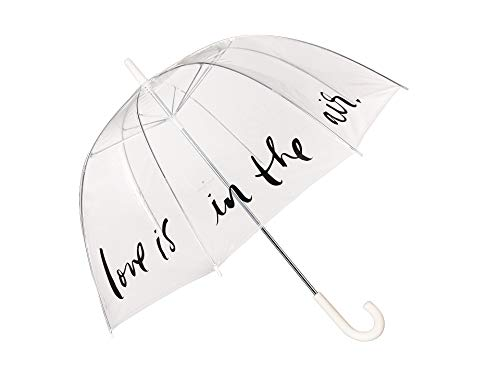 Kate Spade New York Large Dome Umbrella, Love Is In The Air (Pink/Clear) (Bubble Me Near Umbrella)