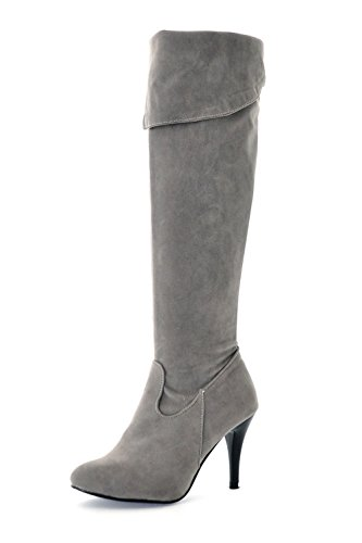 High Nubuck Womens Toe Fashion The Heels Knight Pointed Stiletto Over Lucksender Knee Boots Grey z4wxvfqdw