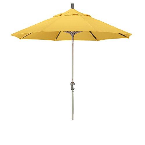 California Umbrella 9' Round Aluminum Market Umbrella, Crank Lift, Auto Tilt, Champagne Pole, Pacifica Yellow