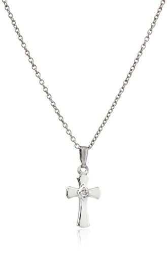- Sterling Silver Children's Diamond Cross Pendant Necklace , 15