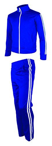 (myglory77mall Men's Running Jogging Track Suit Jacket and Pants Warm up Pants Gym Training Wear L US(2XL Asian Tag) Blue)