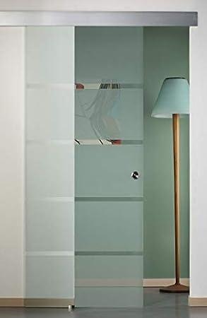Puerta corredera exterior de cristal satinado con rayas 90 x 210 ...