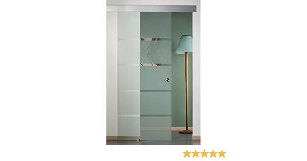 Puerta corredera exterior de cristal satinado con rayas 90 x 210: Amazon.es: Bricolaje y herramientas