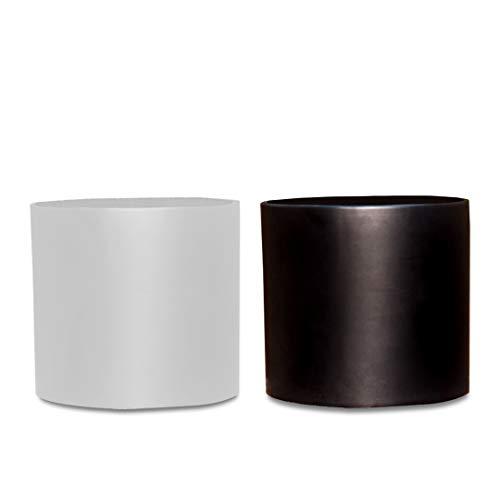 (Bioexcel Flower Pot Pack of 2 - Indoor Mid Century Planter for Succulents and Aloe Vera Planter Pots - White and Black Ceramic Macetas Para Plantas for Home Decor)