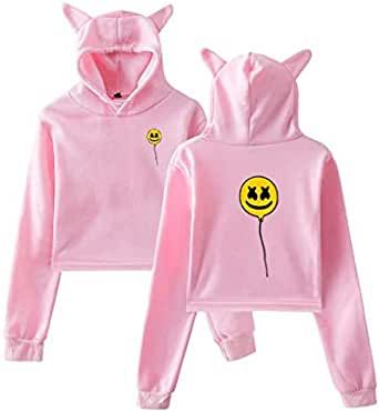 Marshmello casual hoodies cat ear pullover tops for girls