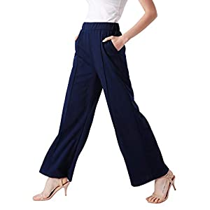 ANGGREK Palazzo Pants for Women Casual Long High Waist Wide Leg Trousers