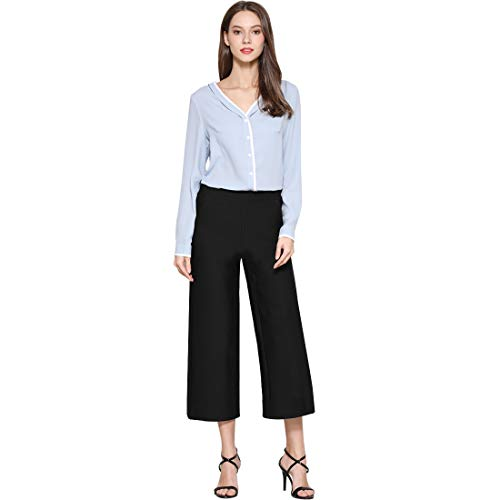 - Tsful Women's Casual Loose Wide Leg Pants Pull On Dress Pant(Black, S-Waist 29.13
