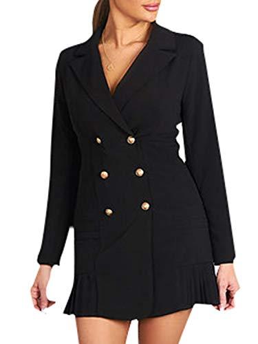 Simplee Womens Elegant Double Breasted Blazer Dress Slim Fit Ruffle Office Dress Mini Dress