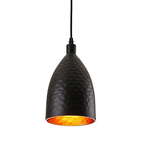 - KDK Lighting One-Light Contemporary Style Adjustable Pendant Light with Black and Gold Bullet Metal Pendant Light Shade and Black Cord