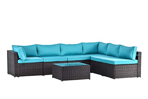(Gotland 7pcs Outdoor Sectional Sofa Patio Furniture Cushion Cover Set,Only Covers(Blue) -Incl.6 Seat Cushion Covers & 8 Back Pillow Covers)