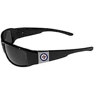 NHL Winnipeg Jets Chrome Wrap Sunglasses, Black, Adult Size