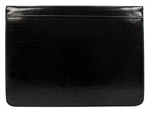 Leather Portfolio Document Folder Handcrafted Case Black Time Resistance