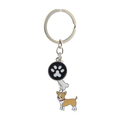 Key-ring Keychain,Cute Metal Small Dog Puppy Keychain Keyring Keyfob Car Bag Charm Dog Tag Chains Birthday Christmas Gift (Yellow Chihuahua) ()