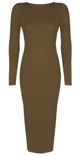 Bodycon Inspi Sleeve Length Women's Midi Baleza Dress Long Calf Mocha xaICw4Cnq