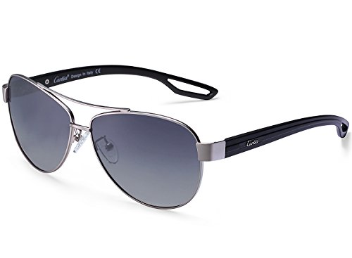 Aviator Sunglasses - Carfia Polarized Sunglasses for Men and Women, Metal Frame & UV400 Protection (Matte Silver Gradient Grey, - Lenses Gradient Are What
