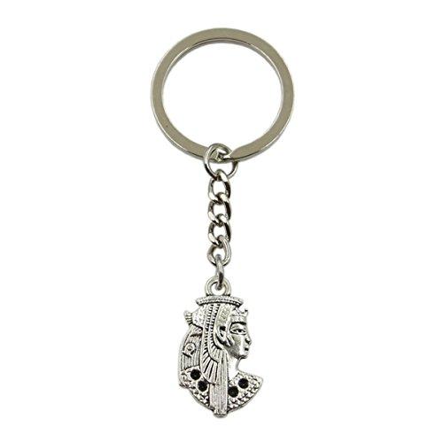 (New Fashion Men Keychain DIY Metal Holder Chain Egypt Cleopatra 29x17mm Silver Pendant)