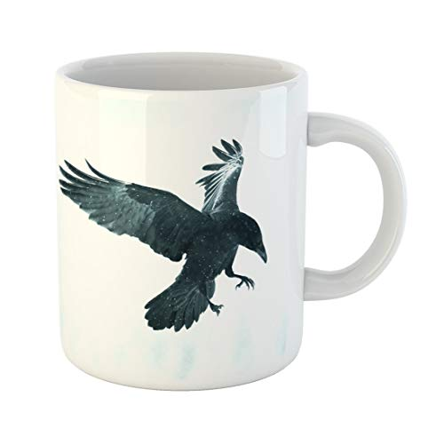 Semtomn Funny Coffee Mug Black Raven Flying in Moonlight Scary Creepy Gothic Setting 11 Oz Ceramic Coffee Mugs Tea Cup Best Gift Or Souvenir -