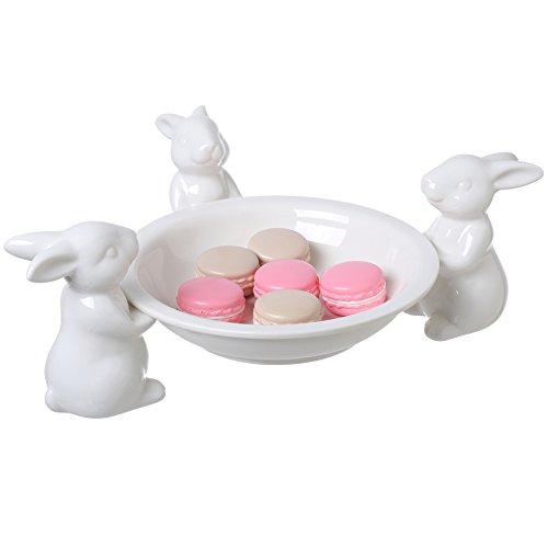 Easter Bowl (8-Inch White Ceramic Dessert Bowl with 3 Detachable Bunny Holders, Candy Serving Dish)