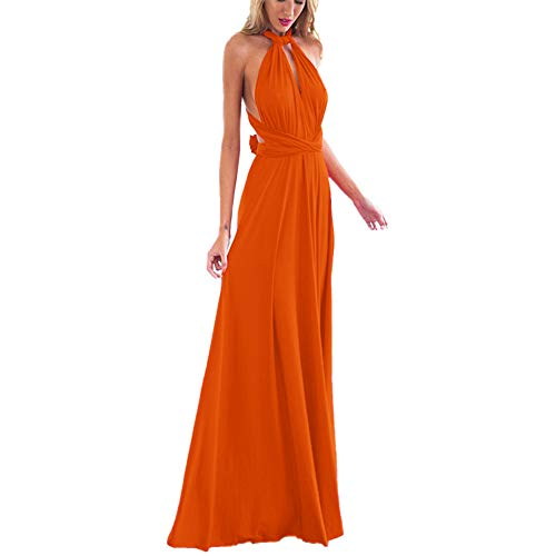 Women's Transformer Convertible Multi Way Wrap Long Prom Maxi Dress V-Neck Hight Low Wedding Bridesmaid Evening Party Grecian Dresses Boho Backless Halter Formal Cocktail Dance Gown Orange -