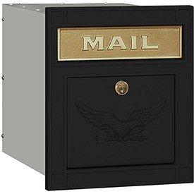 Salsbury Cast Aluminum Column Mailbox 4145E-BLK - Recessed Mounted Locking, Eagle Door, Black - Column Recessed Mailbox