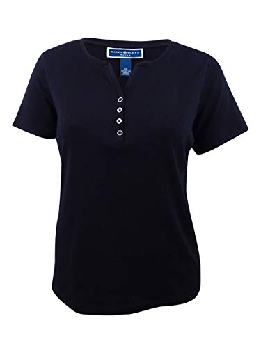 Karen Scott Plus Size Cotton Henley T-Shirt (Deep Black, 2X) from Karen Scott