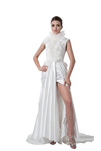 Vogue007 Womens High Neck Spandex Satin Pongee Solid Formal Dress with Fold, White, 16 by Unknown