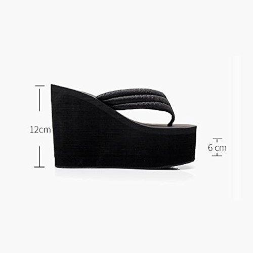 Hausschuhe 38 Sandalen Student weiblichen hochhackige High Maultiere schwarz Farbe Schuhe Casual Strand Sommer Heels Größe Mode schwarz Seaside FEI Tuch Sandalen 12cm Hausschuhe S7w1q