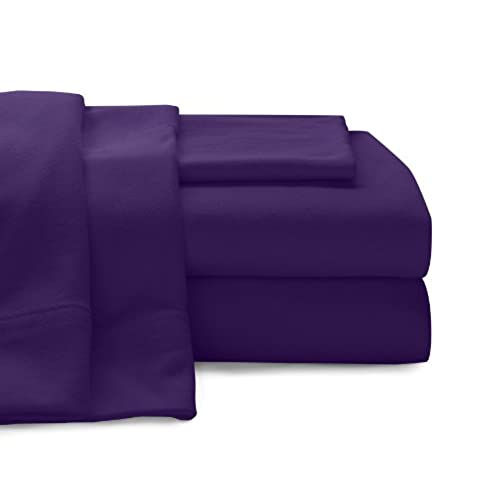 Perfect BALTIC LINEN COMPANY Cotton Jersey Sheet Set, Queen, Purple