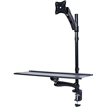 """VIVO Single Monitor Sit-Stand Height Adjustable Workstation Standing Desk Mount w/ Gas Spring / Holds 1 Screen 13"""" to 27"""" (STAND-SIT1)"""