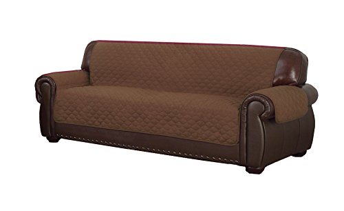 Duck River Textiles Reynold Reversible Water Resistant Sofa Cover In Chocolate/Natural (with Pockets!), Geometric (Pet Couch Covers For Furniture)