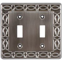 - GE 52284 Double Switch Wall Plate Formal Brushed Chrome Plated Steel