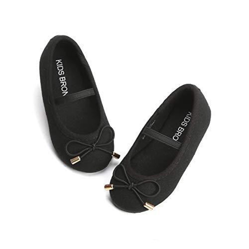 KIDS BRON Bridal Ballet Flats Mary Jane School Shoes(Toddler/Little Girls) (7 M US Toddler, 7126 Black)