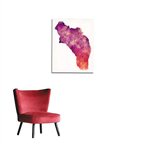 "longbuyer Wallpaper La Rioja Province Watercolor map of Argentina in Front of a White Background Mural 24""x36"""