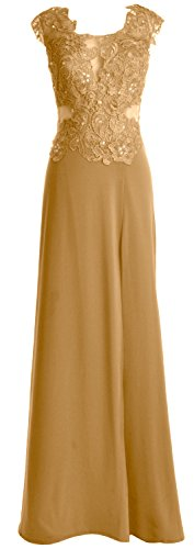 MACloth Women Cap Sleeve Prom Gown Maxi Wedding Party Formal Dress with Slit Gold