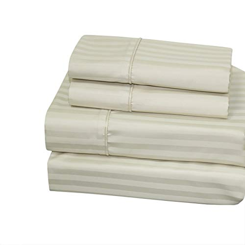 Split King Stripes Ivory Cotton-Blend Wrinkle-Free Sheets 650-Thread-Count Sheet Set- Deep Pocket by sheetsnthings