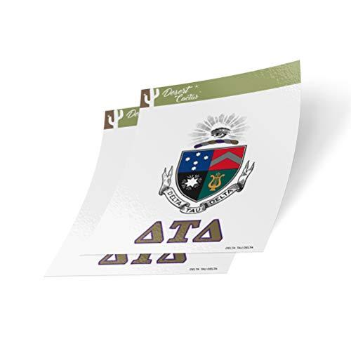 Delta Tau Delta Crest & Letter 2-Pack Sticker Decal Greek for Window Laptop Computer Car Delts (Crest Sticker)