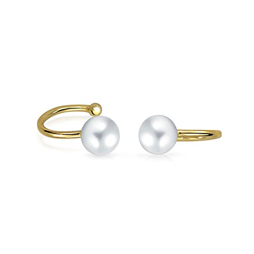 Minimalist Spiral Wire 2 White Freshwater Cultured Pearl Cartilage Ear Cuff Earrings 14K Gold Plated Sterling Silver ()