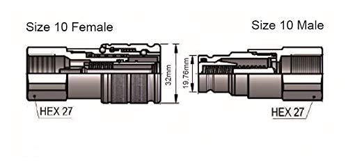 norma di iso 16028 Faccia piana idraulica 1//2 BSP giunto rapido SET
