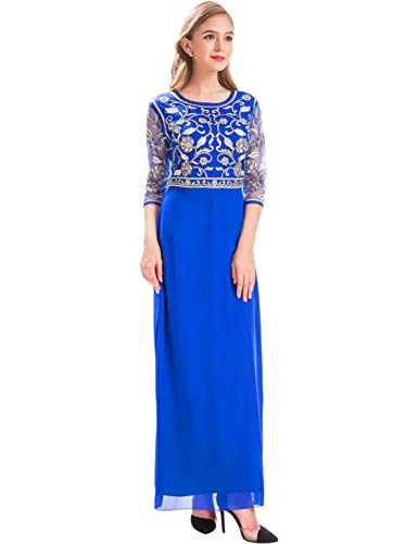 - MANER Women Chiffon Beaded Sequin 3/4 Sleeve Long Gowns Prom Evening Bridesmaid Dress (L, Royal Blue/Gold)