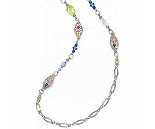 (Brighton Painted Garden Flower Silver Long Chain Necklace )