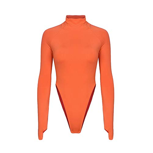 Womens One-Piece High Collar Long Sleeve Crop Top T-Shirt Jumpsuit Bodysuit Orange