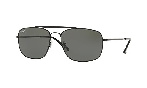 Ray-Ban Men's Steel Man Sungkass Polarized Square Sunglasses, Black, 60 - Ban Ray 60mm