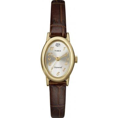 Timex T2N193 Ladies Diamond Brown Leather Strap Watch