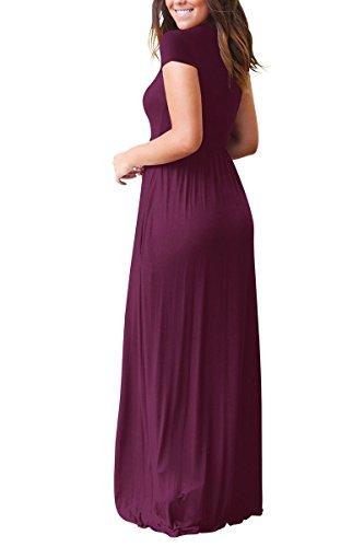 Suelta Lisa Bolsillos Rojeam Vestido Red y Manga Casual de Corta Wine con de Llanura Larga Mujer para nYfqpYw8
