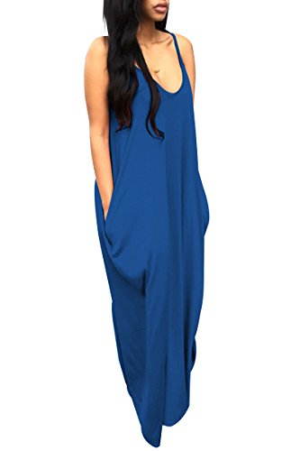 YMING Women's Low V-Neck and Low V-Back Maxi Dress Blue XXL (Yellow And Gray Maxi Dress)
