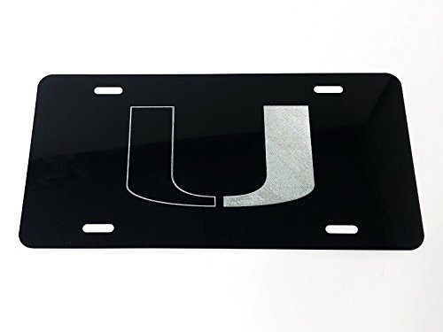 Diamond Etched Miami Hurricanes 2 Logo Car Tag on Black Aluminum License Plate