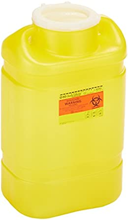 "BD 305493 Chemotherapy One-Piece Sharps Collector with Plug Cap, 10-1/2"" Width x 18"" Height x 7-1/2"" Depth, 5 Gallon Capacity, Yellow (Case of 8)"