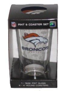 Denver Broncos NFL 16oz Logo Pint Glass & 4 Piece Coaster Set